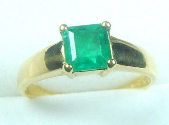 Colombian Emerald Ring Emerald Cut 0.96 Cts 18K Gold Size 6.75 Fine Jewels Muzo  #CeCi #Solitaire #Engagement