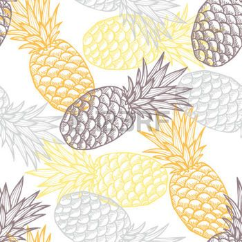 pineapple pattern: Elegant seamless pattern with hand drawn decorative pineapples, design elements. Can be used for invitations, greeting cards, scrapbooking, print, gift wrap, manufacturing. Food background
