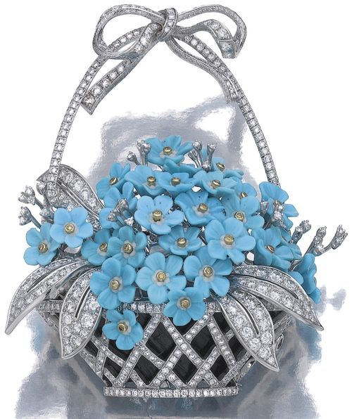Turquoise and diamond brooch, 'Forget-me-not', Michele della Valle    The diamond set lattice basket embellished with a flowering bouquet of carved turquoise and brilliant-cut diamonds, some of yellow tint, to a diamond bow surmount, mounted in white gold, signed Michele della Valle and numbered, case. Sotheby's.