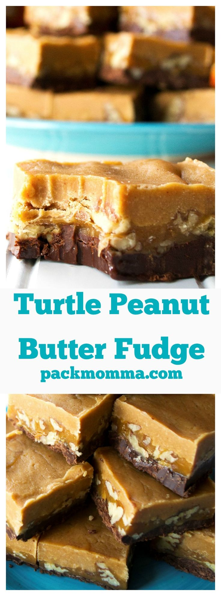 Turtle Peanut Butter Fudge | An easy no-bake recipe for creamy, rich, decadent Turtle Peanut Butter Fudge. | Pack Momma | www.packmomma.com