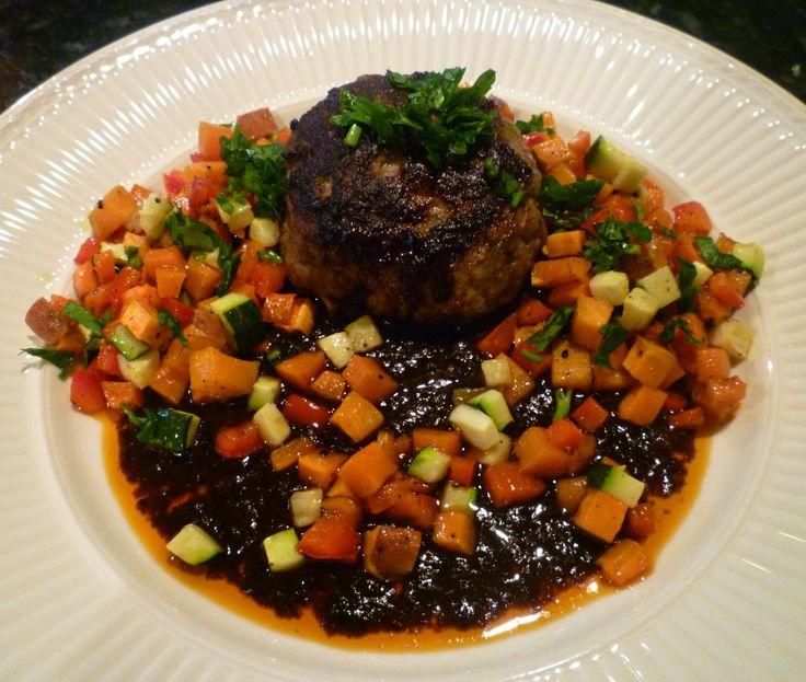 YOSHIKOlicious Beauty: Hamburger Steak with Roasted Vegetables ハンバーグのローストベジタブル添え