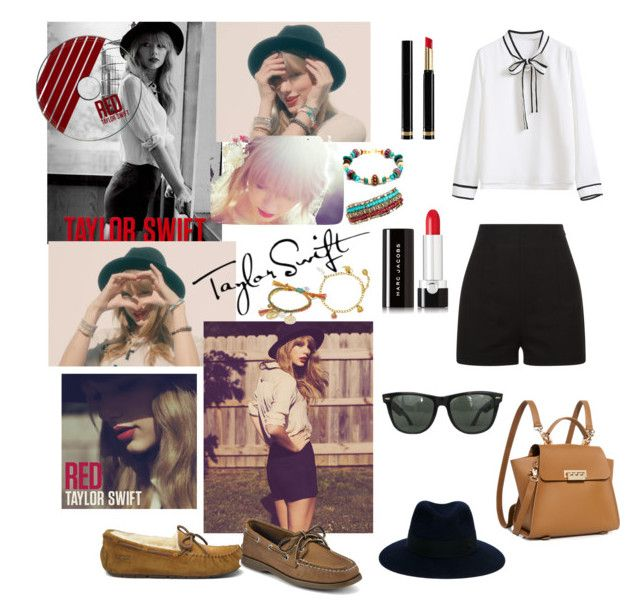 """""""Get the look..."""" by devanshimallick ❤ liked on Polyvore featuring WithChic, Alex Monroe, Venessa Arizaga, Pavcus Designs, Maison Michel, UGG, Sperry, Gucci, Marc Jacobs and Ray-Ban"""
