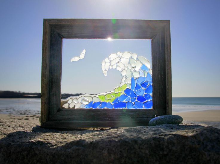 Sea Glass Wave, Window Art by Maine artist Tricia Granzier on Etsy https://www.etsy.com/listing/521851043/sea-glass-wave-window-art