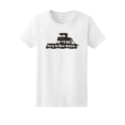 Party in Slow Motion Motor Boatin Ladies T-Shirt Motorboatin Little Boating Big On the Pontoon Making Waves Catching Rays Country Floatin Floating Funny Town Ladies Tee Small White