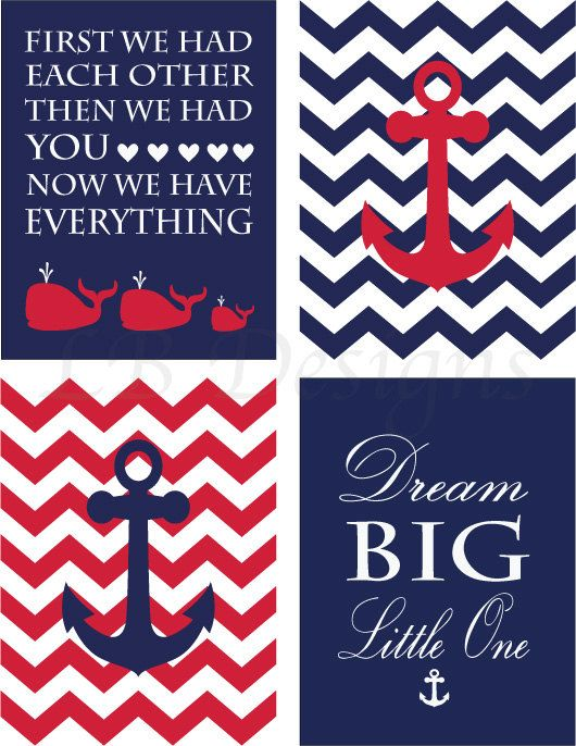 Set of 4 Red White and Navy Blue Anchor and Whale by LJBrodock, $35.00