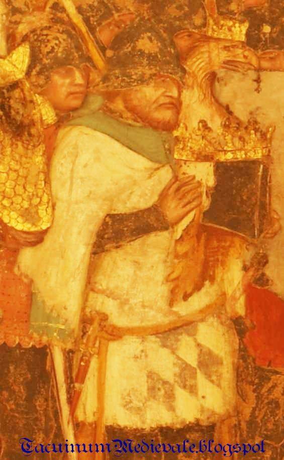 """Altichiero da Zevio, Cappella S. Giacomo, Padova (1376-77): in questo modello di  """"tabarro"""" si può vedere un taglio sotto la manica per far uscire il braccio. / In this tabard there's a cut under the arm, a different way to wear it."""