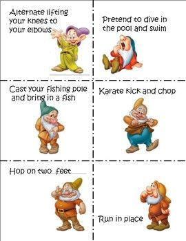Brain Breaks with the Seven Dwarfs (30) 30 quick movement ideas on 3.5 X 4 cards Could easily glue to craft sticks and store in a can or plastic jar Or store cards in a plastic travel size soap container 3 different sizes for labels included Blank template included to add your