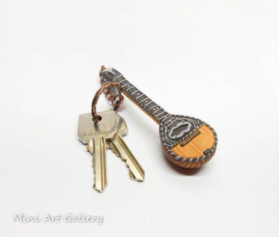 Bouzouki keychain / greek mpouzouki musical instrument / key ring miniature / greek traditional music / fimo polymer clay handmade miniature © Mini Art Gallery