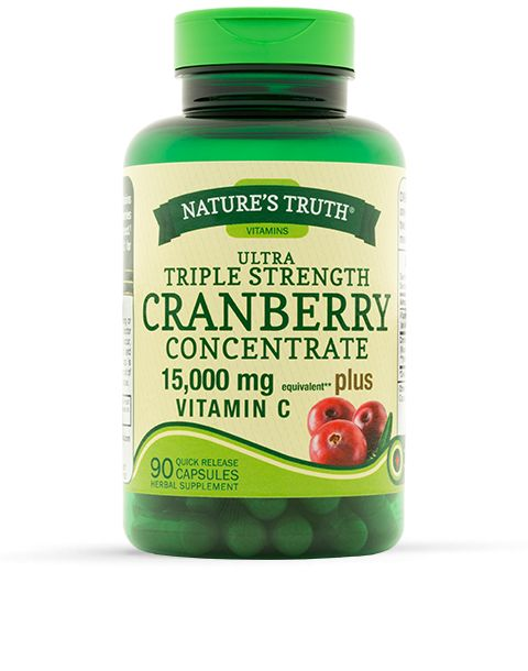 Nature's Truth® Ultra Triple Strength Cranberry Concentrate contains the equivalent of over 15,000 mg of fresh cranberries per serving to help maintain a healthy urinary tract.* This product also contains added Vitamin C for additional antioxidant support.*