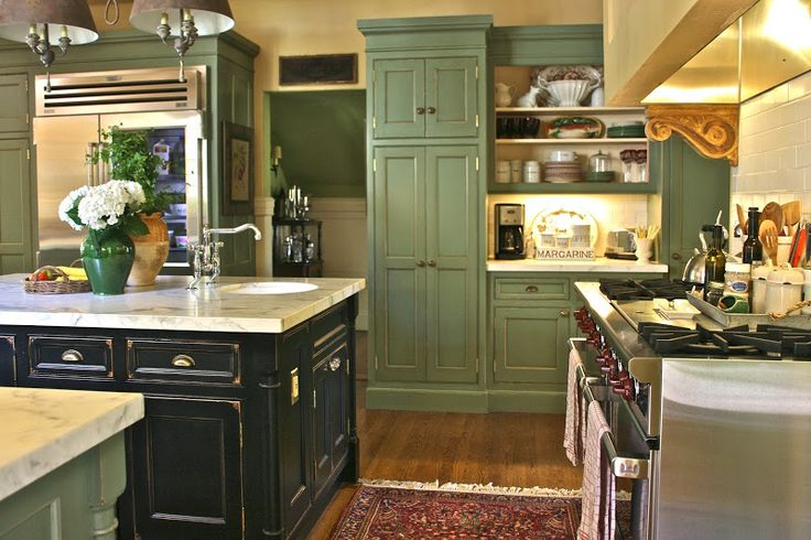 Distressed Green Kitchen Cabinets aged green cabinets and black island. | kitchen | pinterest