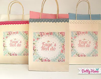 Vintage floral lace HEN PARTY gift bags - Heather?