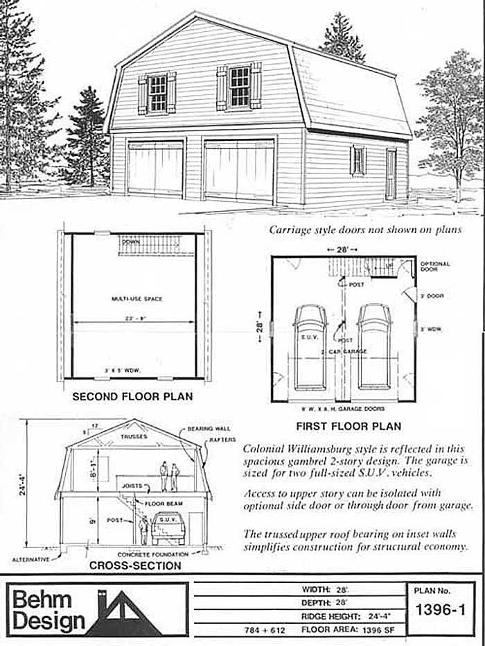 Oversized 2 car steep roof pdf garage plan with loft 1396 for Business plan garage automobile pdf