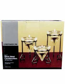"Black Metal Candle Holders - Case Pack 12 SKU-PAS395849 by DDI. $54.48. All of the products showcased throughout are 100% Original Brand Names.. 100% SATISFACTION GUARANTEED. Please refer to the title for the exact description of the item. A set of 3 black metal candle stands with glass cone tealight candle holders.They are 3 legged holders with a top diameter of 2 7/8"".The stands heights are: 2 3/4"";3 3/4"";and 5"". The glass cone is 3 1/4"" with a top diameter of 3"".The se..."