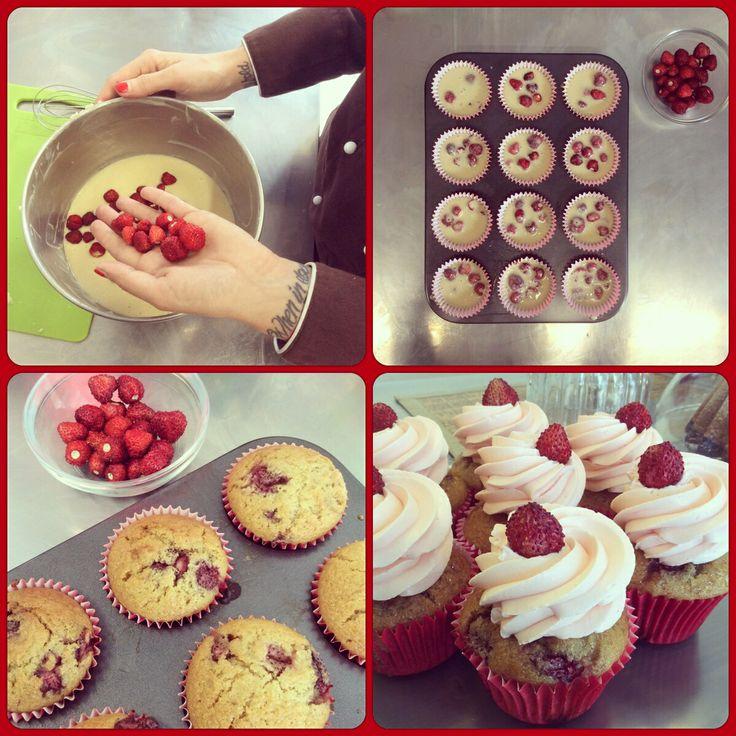 Vegan wild strawberries Cupcake.