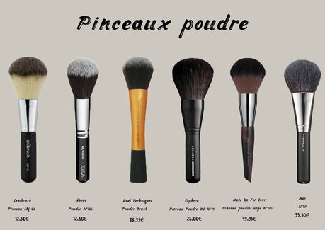Pinceaux Poudre : Lenibrush Lbf 03, Zoeva Powder n°106, Real Techniques Powder Brush, Séphora Pinceau Poudre Xl n°49, Make Up For Ever Pinceau poudre large n°130, Mac N°134