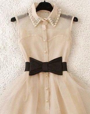 Vintage chiffon dress with black bow belt