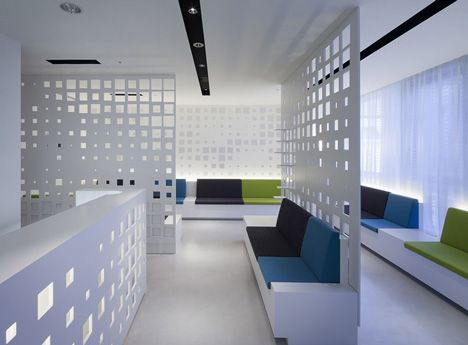 Visual screens can be exciting design tools to use in office lobbies especially in small offices to define spaces.