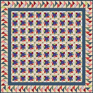 mequilter: Yo-Yo Quilt with a Double Flying Geese Border