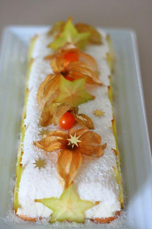 bûche exotique au citron vert et noix de coco sans gluten (recette clic sur photo)