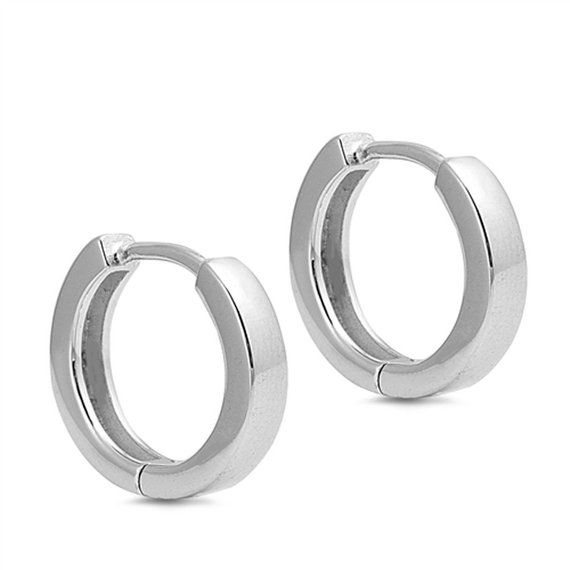 USA Seller Round Tube Huggie Earrings Sterling Silver 925 Jewelry 3mm x 16mm