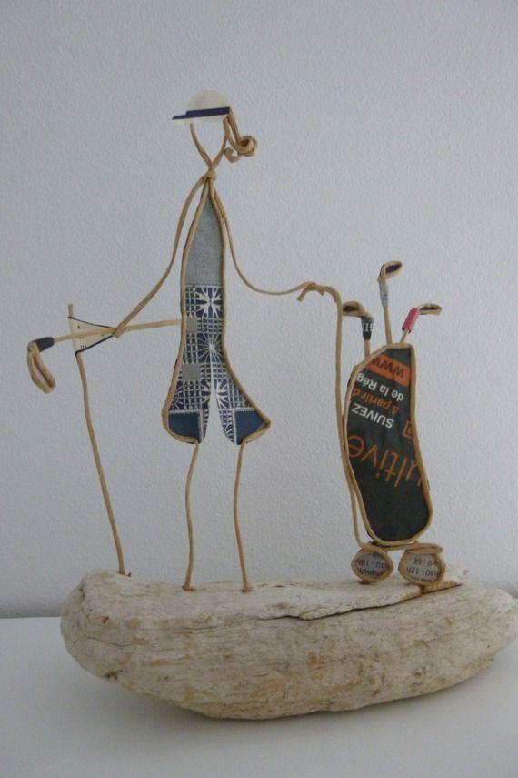 La golfeuse - figurine en ficelle et papier