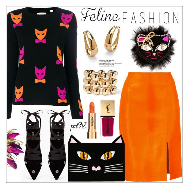 """""""Cat's Meow: Feline Fashion (do not copy)"""" by pat912 ❤ liked on Polyvore featuring Betsey Johnson, Balenciaga, Chinti and Parker, Diane Von Furstenberg, Palm Beach Jewelry, Erdem, Yazbukey, Yves Saint Laurent, Sisley and polyvoreeditorial"""