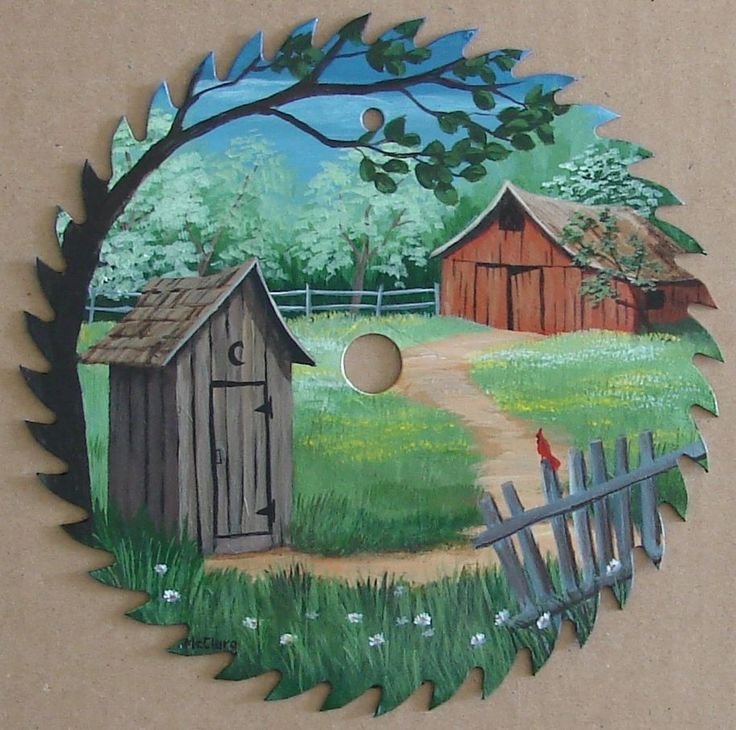 Offered for sale is a new Black Decker saw blade on which I have painted a rural landscape featuring an old red barn, a cardinal on a fence, and an outhouse. It is painted with acrylics and sealed with acrylic varnish.