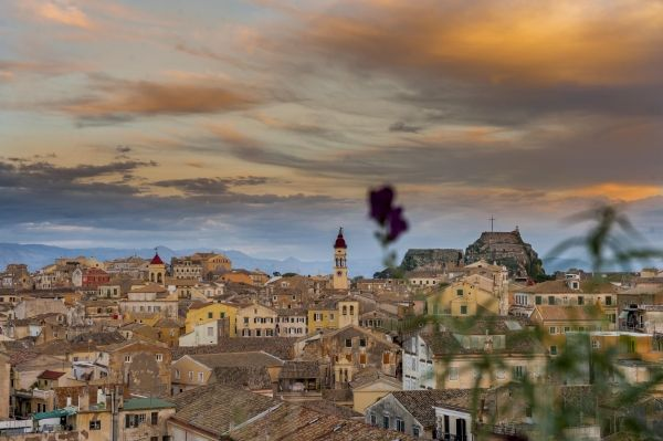 Romantic atmosphere over Corfu Town