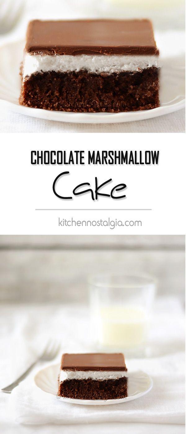 Chocolate Marshmallow Cake, aka Penguin Cake - super moist chocolate sponge soaked with tea+rum mixture, marshmallow topping and secret foolproof chocolate glaze