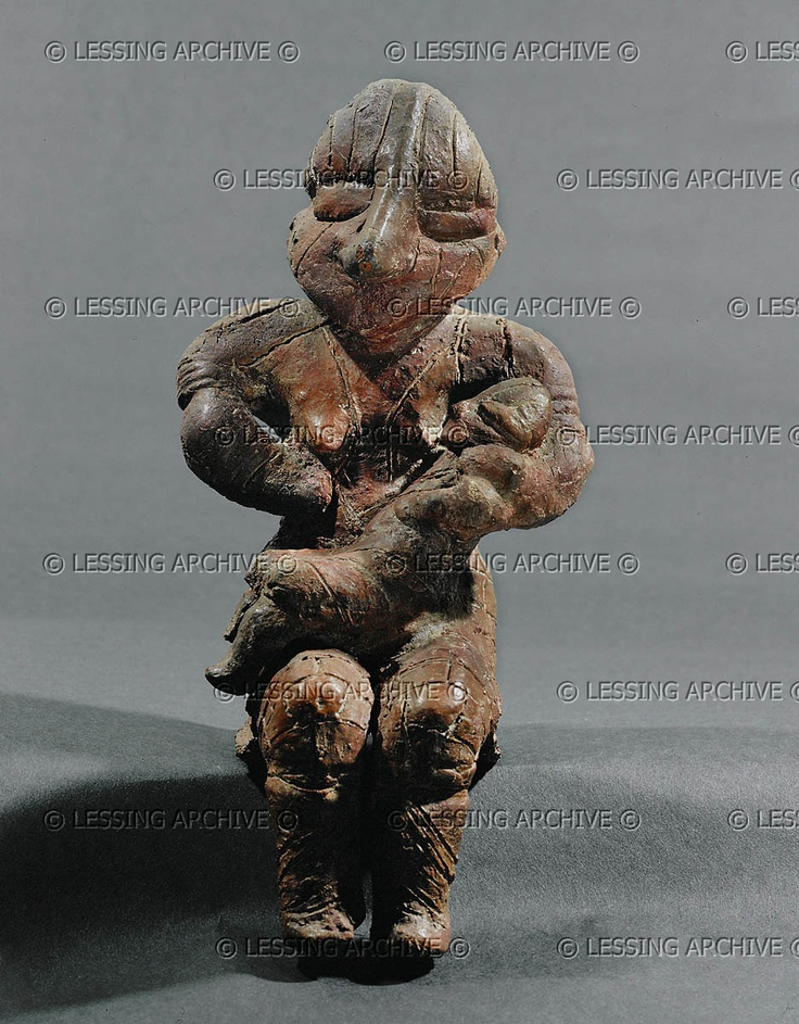NEOLITHIC SCULPTURE 10TH-5TH MILL.BCE    Mother and child. Terracotta From Drenovac, Serbia. Vinca Culture, Neolithic (5th mill. BCE). Height 21 cm Inv. 5670  Narodni Muzej, Smederevska Palanka, Yugoslavia