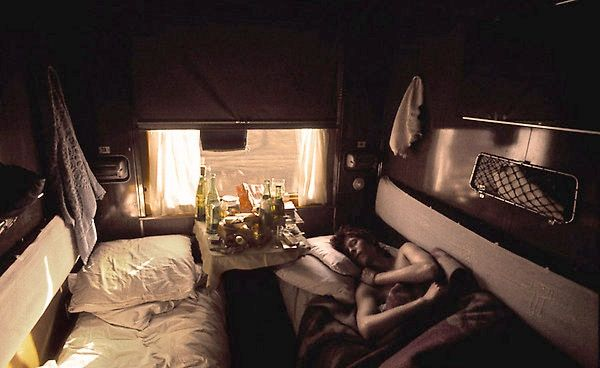 David Bowie sleeping in a Soviet train on his way to Moscow from Japan in 1973.