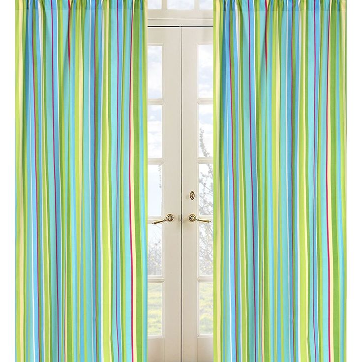 Make a decorative statement with these boldly-colored striped panel curtains from Sweet Jojo Designs. The vibrant blue, green, and yellow colors of this fun window dressing demands attention while the plummeting stripes draw the eye upward.