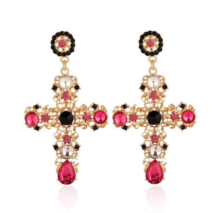 New fashion Bohemia style colorful crystal cross  drop earrings E-381