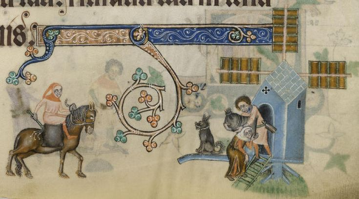 The  luttrell psalter, the miller receives the grain, Psalm 87, f. 157v
