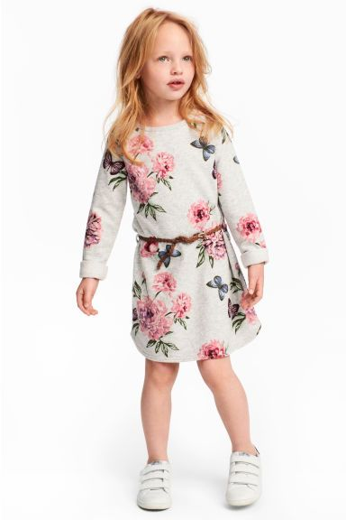 Байковое платье - Светло-серый/Цветы - Дети | H&M RU 1