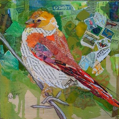 "Yellow Head Bird by elizabeth st hilaire nelson  12"" x 12"" (30.5cm x 30.5cm)  collage on Pane"