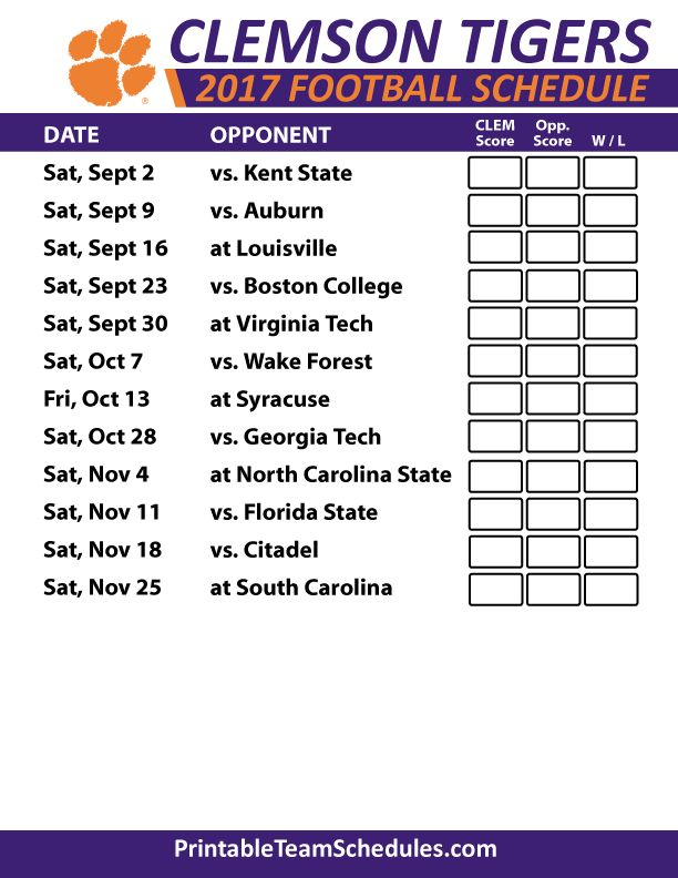 2017 Clemson Tigers Football Schedule
