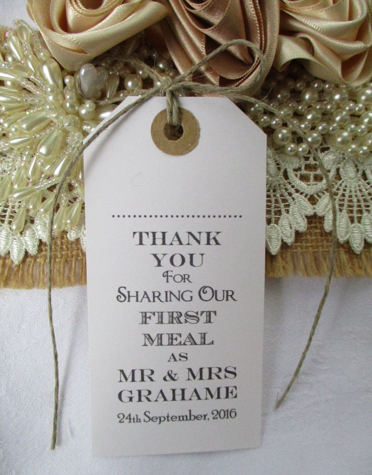 wedding custom thank you cards%0A Thank You for Sharing Our First Meal Name Place Tags  Personalised Tags   Napkin Ties  Wedding Table Decor  Wedding Favors