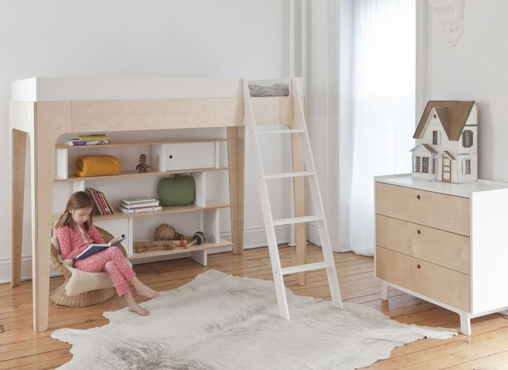 Bedroom How to Scheme a Likeable Bedroom that Swell with Your Daughter: Attractive Bunk Bed Cool Designs At Teenage Girl Room With White Stairs Also Wooden Drawer Cabinet And White Wall Color For Best Kid Bedroom Design Ideas Awesome Wooden Bunk Bed With Natural Wood Color And White Curtain
