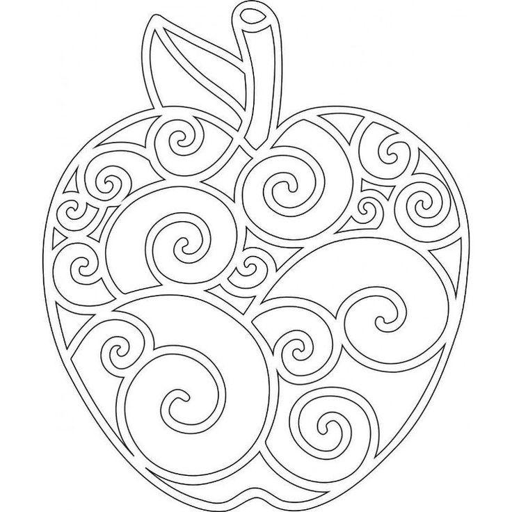 dessin Mandala à colorier en forme de pomme à motifs spirales