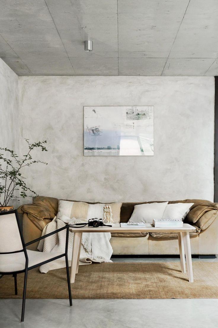 Het interieur van deze woning is volledig bewerkt met betonstuc! Simple  InteriorHome Interior DesignConcrete ...