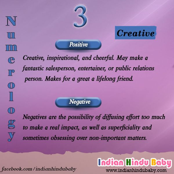 People with numerology 3 are very creative. Explore some names for the people whose number belongs to 3 - https://www.indianhindubaby.com/numerology-number-3/