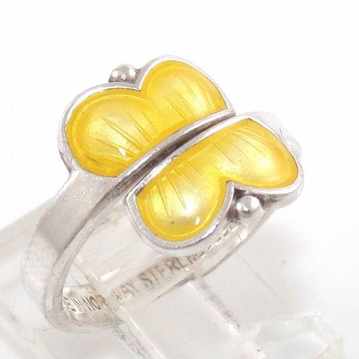 Aksel Holmsen Norway Sterling Silver Yellow Enamel Butterfly Ring Size 6.5 Adj | eBay