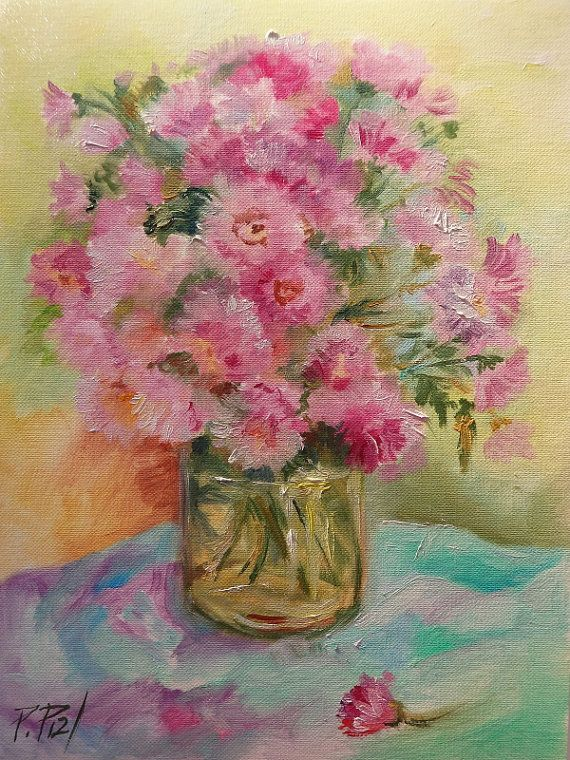 Pink FLOWERS Classic STILL LIFE Small oil painting Painted #canisartstudio #flowerspainting #walldecor