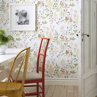Flora tapet - hvit - Sandberg Tyg & Tapet