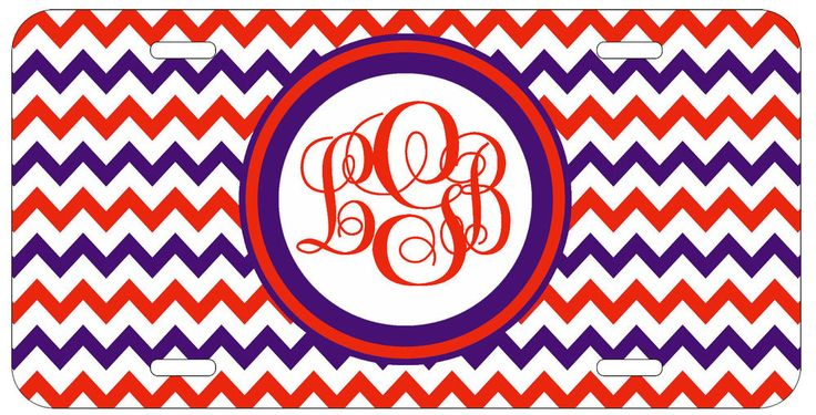 Personalized Monogrammed Chevron Red Purple License Plate Custom Car Tag L026