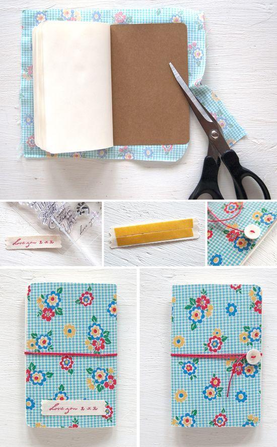 Como forrar uma caderneta com tecido.