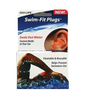 "AcuLife Swim Fit Custom Molded Ear Plugs by AcuLife. $4.99. Floatable & Reusable. Seals out Water. Used by the professionals. Helps Prevent Swimers Ear. Custom Molds to the contours of your ear. Swim-Fit works best in my training ""These give me piece-of-mind and let me focus on my swimming... no water in the ears and no outside distractions make for a great day in the pool."" Endorsed by U.S. Olympic Swimmer & Gold Medalist,holder of one World and 27 U.S. Swimming Records: Megan..."