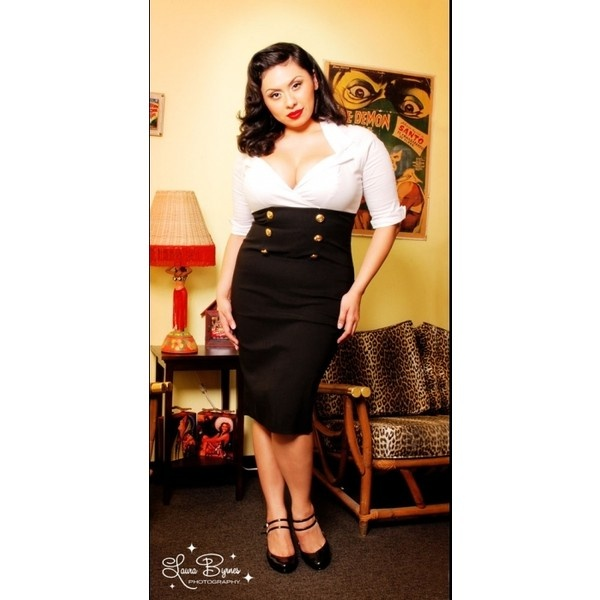 military secretary dress in white and black by pinup couture plus