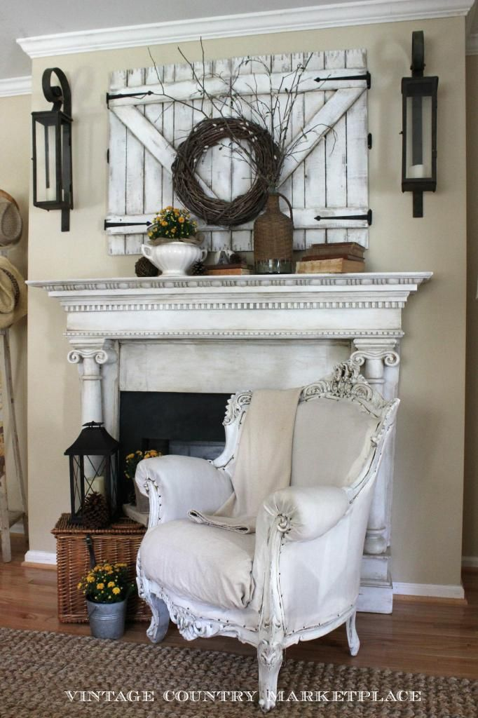 ❤️I love the wall decor above the mantel must remember the rustic barn doors hiding her TV. I also love how she painted and glazes the mantel.❤️ photo VintageCountryMarketplaceFallMantel3_zpsf31cf56b.jpg